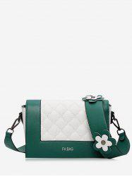 Color Block Flower Quilted Crossbody Bag - GREEN