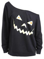 Plus Size Drop Shoulder Halloween Sweatshirt - Black - 2xl