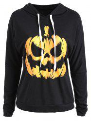 Plus Size Halloween Pumpkin Drop Shoulder Hoodie - BLACK XL