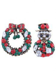 2PCS Rhinestone Christmas Snowman Wreath Broches - Vert