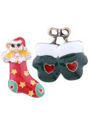 Christmas Heart Bows Gloves Stocking Brooches - COLORMIX