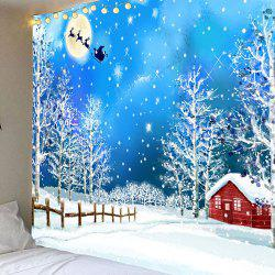 Snows and Trees Pattern Waterproof Christmas Wall Art Tapestry - Colorful - W79 Inch * L71 Inch