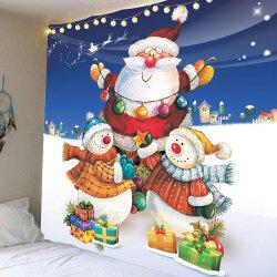 Christmas Snowman and Santa Claus Pattern Waterproof Wall Art Tapestry - Colorful - W59 Inch * L51 Inch