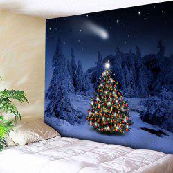 Snow Night Christmas Tree Wall Tapestry - Violet Blue - W91 Inch * L71 Inch