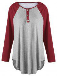 Plus Size Two Tone Raglan Sleeve Top with Buttons - Gray And Red - 5xl