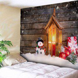 Christmas Snowman Wood Candle Wall Tapestry - Wood Color - W91 Inch * L71 Inch