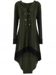 High Low Hooded Plus Size Lace-up Coat - Army Green - 5xl