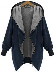 Hooded Plus Size Zip Up Coat - Cadetblue - 5xl