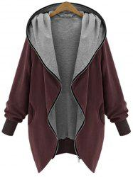 Hooded Plus Size Zip Up Coat -