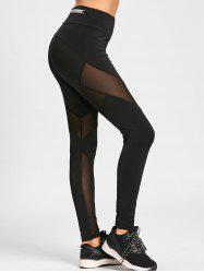 Zipper Embellished Mesh Insert Leggings -