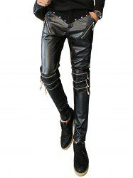 Zip and Rivet Embellished PU Panel Pants - BLACK 34