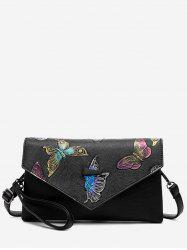 Faux Leather Embossing Crossbody Bag -