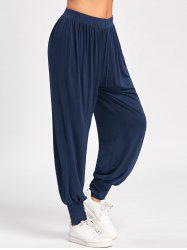 High Waisted Harem Pants - DEEP BLUE M