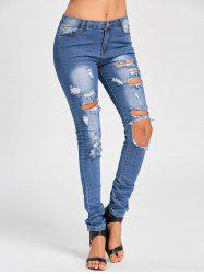 Cut Out Distressed Skinny Jeans - BLUE XL