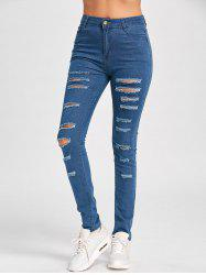 Ladder Distressed Skinny Jeans - BLUE 2XL