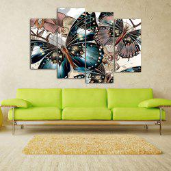 Vintage Butterfly Print Unframed Split Canvas Paintings - 30*60cm*2pcs And 30*80cm*2pcs