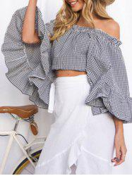 Flare Sleeve Off The Shoulder Crop Top -
