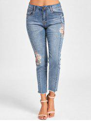 Embroidery Embellished Cigarette Jeans - DENIM BLUE M
