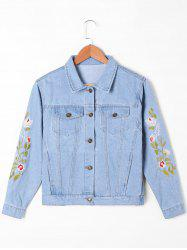 Flap Pockets Embroidery Jean Jacket - LIGHT BLUE M