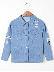Appliqued Frayed Denim Jacket -
