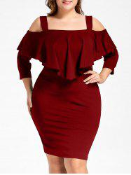 Plus Size Overlay Cold Shoulder Fitted Dress -