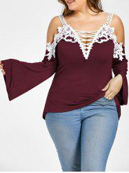 Plus Size Lace Up Cold Shoulder T-shirt - Wine Red - 2xl