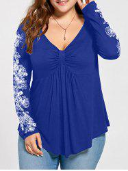 Floral Pattern Long Sleeve Plus Size Draped T-shirt - Blue - 2xl