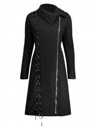 Zip Up Plus Size Lace Up Coat - BLACK XL