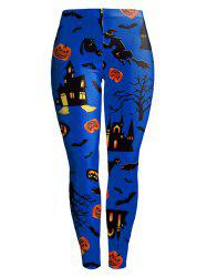 Witch Pumpkin Castle Halloween Leggings - BLUE S