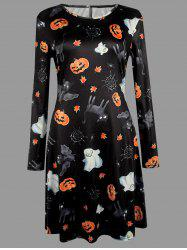 Plus Size Halloween Bat Cat Pumpkin Print Dress - Black - 5xl