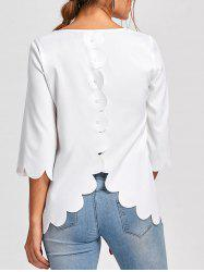 Button Embellished Scalloped Edge Blouse - WHITE 2XL