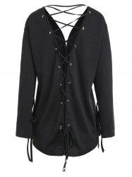 Open Front Plus Size Back Lace-up Jacket -