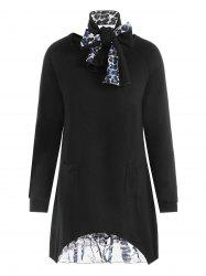 Plus Size Asymmetrical Leopard Panel Pocket Knitwear with Scarf -