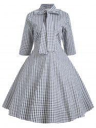 Vintage Bowknot Plaid Skater Dress -