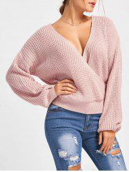 Back Cut Out Deep V Neck Oversized Sweater -