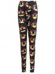 Plus Size High Waist Halloween Pumpkin Print Leggings -