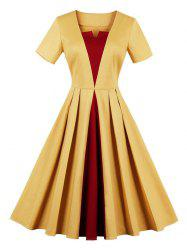Vintage Color Block Fit and Flare Skater Dress -