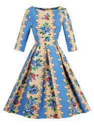 Retro Floral Fit and Flare Dress -
