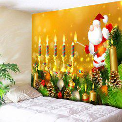 Santa Claus Wall Art Christmas Candle Tapestry -