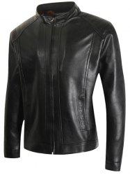 Faux Leather Zip Up Casual Jacket -