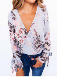Floral Flare Sleeve Surplice Blouse -