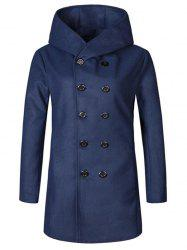 Hooded Double Breasted Woolen Coat -