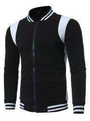 Color Block Varsity Stripe Fleece Zip Up Jacket -