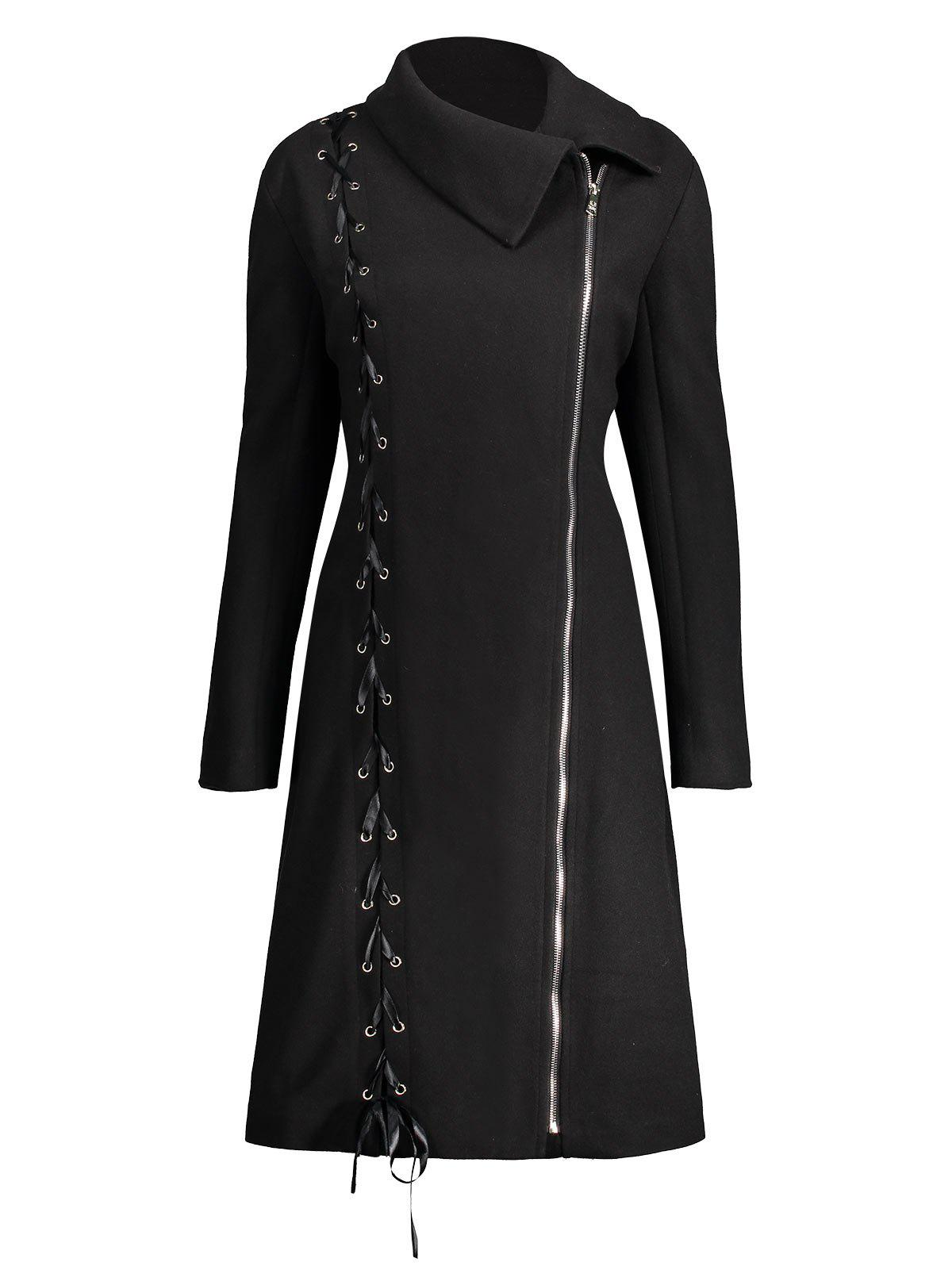 Zip Up Plus Size Lace Up CoatWOMEN<br><br>Size: XL; Color: BLACK; Clothes Type: Others; Material: Cotton Blends,Polyester,Spandex; Type: Slim; Shirt Length: Long; Sleeve Length: Full; Collar: Lapel; Pattern Type: Solid; Style: Fashion; Season: Fall,Winter; Weight: 1.0900kg; Package Contents: 1 x Coat;