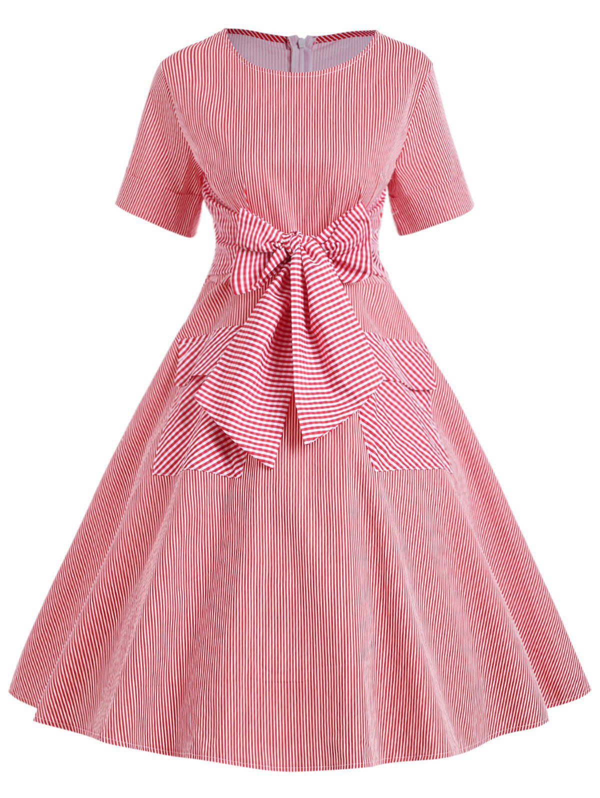 Unique Vintage Double Pockets Stripe Bowknot Dress