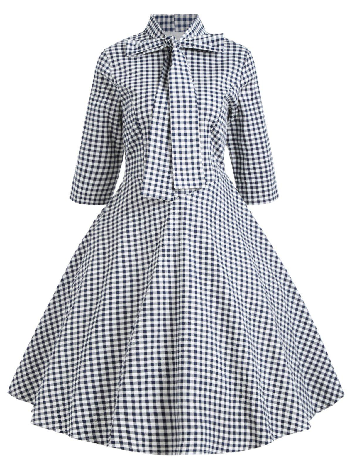 Shops Vintage Bowknot Plaid Skater Dress