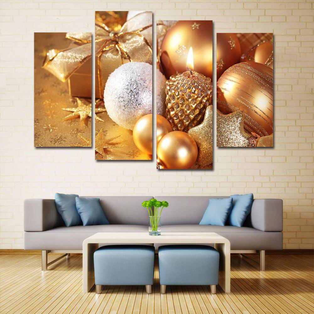 Christmas Gifts Baubles Print Unframed Split Canvas PaintingsHOME<br><br>Size: 30*60CM*2PCS/30*80CM*2PCS; Color: GOLDEN; Subjects: Christmas; Features: Decorative; Hang In/Stick On: Bedrooms,Hotels,Living Rooms,Offices,Stair; Shape: Horizontal; Form: Five Panels,Four Panels; Frame: No; Material: Canvas; Package Contents: 1 x Canvas Paintings (Set);