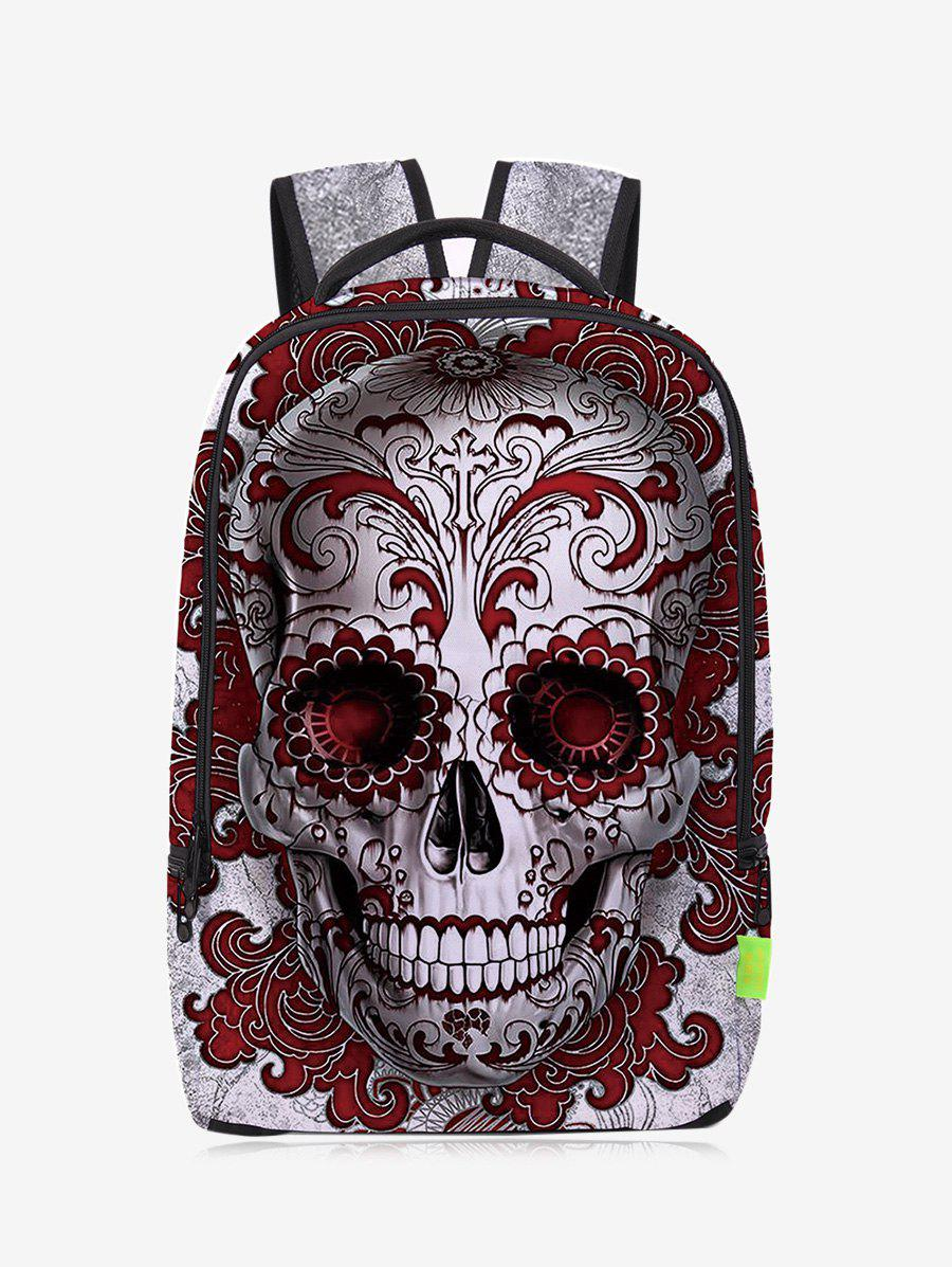 Zips Canvas Skull BackpackSHOES &amp; BAGS<br><br>Color: RED; Handbag Type: Backpack; Style: Fashion; Gender: For Women; Pattern Type: Skull; Handbag Size: Medium(30-50cm); Closure Type: Zipper; Occasion: Casual; Main Material: Canvas; Weight: 1.2000kg; Size(CM)(L*W*H): 28*12*43; Package Contents: 1 x Backpack;