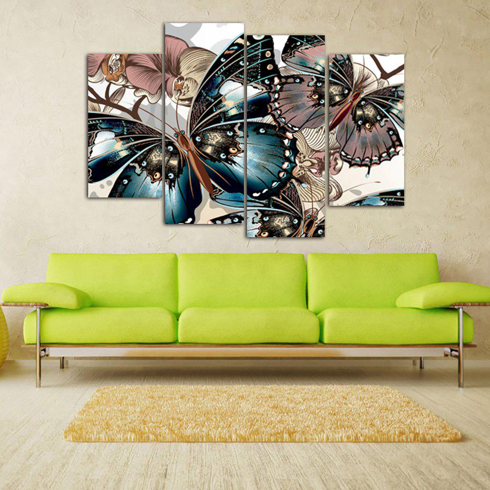 Vintage Butterfly Print Unframed Split Canvas PaintingsHOME<br><br>Size: 30*60CM*2PCS/30*80CM*2PCS; Color: COLORMIX; Subjects: Animal; Features: Decorative; Hang In/Stick On: Bedrooms,Hotels,Living Rooms,Offices,Stair; Shape: Horizontal; Form: Five Panels,Four Panels; Frame: No; Material: Canvas; Package Contents: 1 x Canvas Paintings (Set);