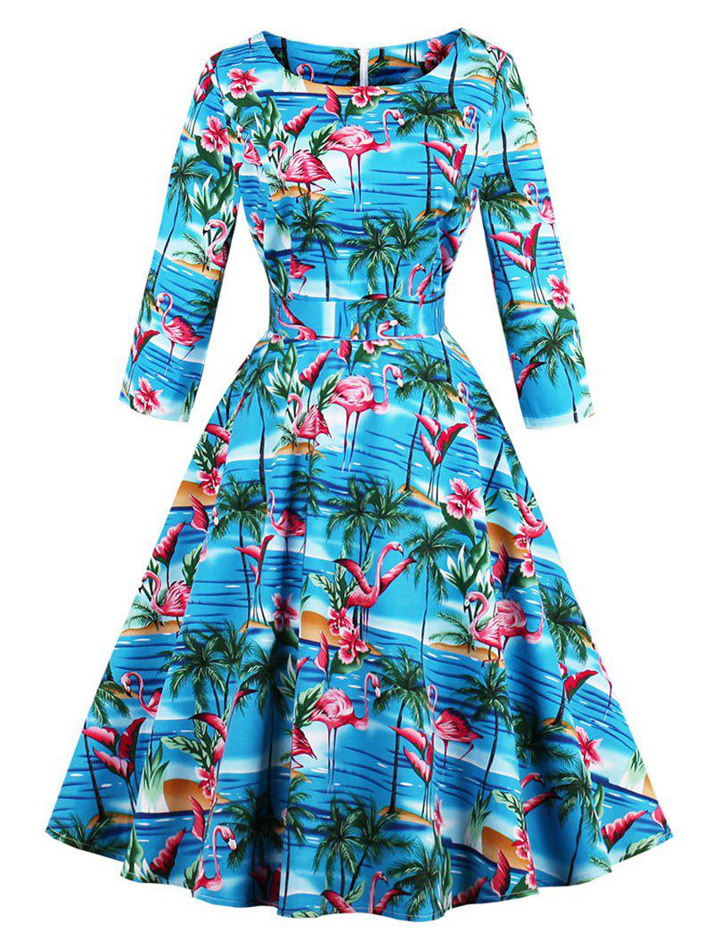 Fashion Vintage Flamingo Print Skater Fit and Flare Swing Dress